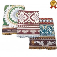 DISCOUNTED EXCLUSIVE SET JUMBO LARGE AND SINGLE SIZE THICK SOLAPUR 100% COTTON BLANKETS / BEDSHEETS SET IN 3 VARIETIES - PACK OF 3 CHADDARS