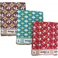 MULTI USE FLORAL DESIGN MAYUR  SOLAPUR PURE COTTON CHADDAR / BLANKET AT DISCOUNT - SET OF 3  CHADDARS
